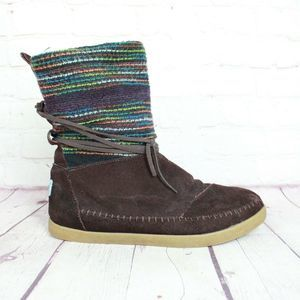 TOMS 'Nepal' Striped Wool Suede Moccasin Boots